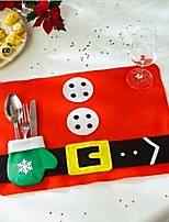 2pcs Merry Sweet Christmas Decoration Placemats Mat  Table Decoration Christmas  Random Color