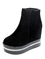 Women's Shoes Fabric Platform Platform / Bootie / Creepers / Round Toe Heels / Boots Casual Black