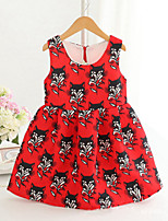 Girl's Fashion Simplicity  Cotton Blend   Fall/Spring  Black  Kitten  Printing Jumper Skirt Princess Dress