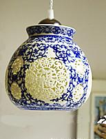 Retro Ceramic lamp lamp Entrance Stairs Blue Single Head Chandelier Creative A