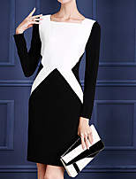 Sheath/Column Mother of the Bride Dress - Multi-color Floor-length Long Sleeve Polyester