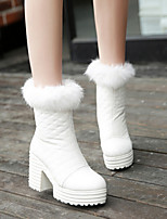 Women's Shoes Flange Warm Chunky Heel Comfort Boots Dress / Casual Black / White