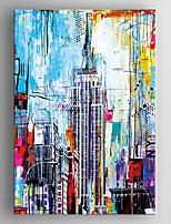 Hand Painted Oil Painting Abstract Buildings Painting   with Stretched Framed Ready to Hang