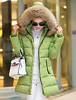 Women's Solid Multi-color Parka Coat , Bodycon / Party / Work Hooded Long Sleeve