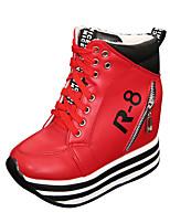 Scarpe Donna - Sneakers alla moda - Casual - Plateau / Comoda / Punta arrotondata - Piatto - Finta pelle - Nero / Rosso / Bianco