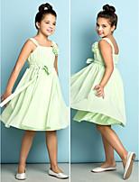 Knee-length Chiffon Junior Bridesmaid Dress - Sage A-line Straps