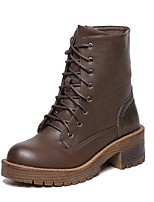 Women's Shoes Flat Heel Combat Boots Boots Outdoor / Casual Black / Brown