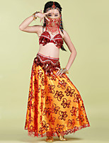 Belly Dance Outfits Children's Performance Satin Tassel(s) 4 Pieces Fuchsia / Red / Yellow