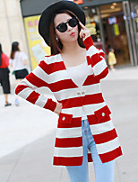 Women's Striped Blue / Pink / Red / Black Cardigan , Sexy / Casual Long Sleeve