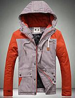 Men's Regular Parka Coat , Cotton Blend Striped Long Sleeve