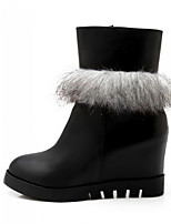 Women's Shoes Polyester Flat Heel Round Toe Boots Casual Black / White
