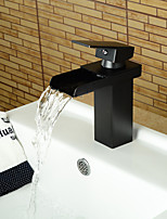 Modern Style Oil-rubbed Bronze Single Handle Single Hole Hot and Cold Water Bathroom Sink Faucet - Black