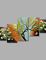 Hand-Painted Oil Painting on Canvas Wall Art Landscape Trees Flowes Abstract Five Panel Ready to Hang