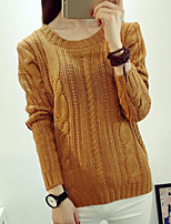 Women's Solid Elbow Patch Twist Thicken Pullover , Casual Long Sleeve