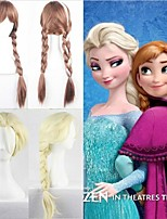 Synthetic Hair Hot Movie Snow Wig Queen Elsa Wig Long Braid Cosplay Anime Beige Wigs Classic Hair