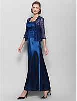 Sheath/Column Mother of the Bride Dress - Dark Navy Ankle-length 3/4 Length Sleeve Charmeuse