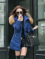 Women's Solid Blue / Red / Black Parka Coat , Vintage Stand / Hooded Long Sleeve