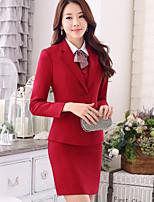 Women's Solid Blue / Red / Black Blazer , Work Asymmetrical Long Sleeve