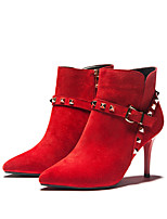 Wangfeier®Women's Shoes Leather Stiletto Heel Fashion Boots / Bootie / Round Toe Boots Dress / Casual Black / Red