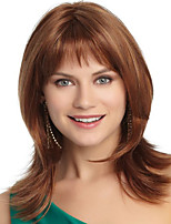 Natural Light Brown Straight Short Hair Wigs with Side Bang
