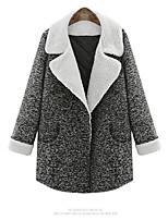 Damen Mantel  -  Leger / Übergröße Langarm Tweed / Andere