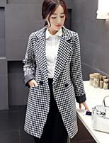 Women's Ethos Swallow Grid Black Slim Trench Coat , Casual / Work Long Sleeve