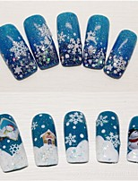 12PCS 3D Nail Art Stickers Decals Top Christmas snowman Mixed Designs Nail Tips Accessory Decoration Tool