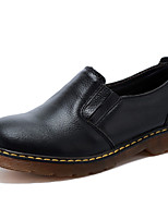 Women's Shoes Leather Flat Heel Comfort Flats / Loafers Outdoor / Casual Black