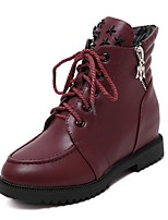Women's Shoes  Wedge Heel Combat Boots / Round Toe Boots Outdoor / Casual Black / Burgundy