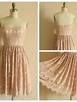 Knee-length Lace Bridesmaid Dress - Blushing Pink A-line Strapless