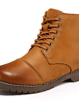 Women's Shoes Leather Flat Heel Cowboy / Western Boots / Motorcycle Boots Boots Outdoor / Casual Brown / Taupe