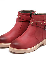 Women's Shoes Leatherette Low Heel Fashion Boots Boots Outdoor / Dress / Casual Yellow / Red / Gray