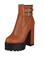 Chaussures Femme - Décontracté - Noir / Jaune / Rouge - Gros Talon - Bout Arrondi - Bottes - Similicuir