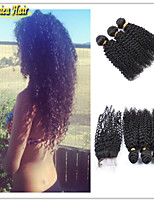 4 Pcs/Lot 3 Bundles Virgin Peruvian Human Hair Weaves With Closure 100% Unprocessed Human Hair Bundles With Lace Closure