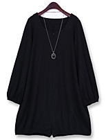 Women's Solid Black Jumpsuits , Casual / Plus Sizes Round Neck Long Sleeve(Necklace Not Included)