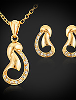 Instyle Cute Women's Pendant Necklace Earrings Set 18K Gold Plated Austrian Rhinestone Exquisite Jewelry