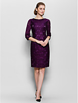 Sheath/Column Mother of the Bride Dress - Grape Knee-length Half Sleeve Lace
