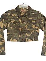 Women's Print Green Jackets , Casual Shirt Collar Long Sleeve