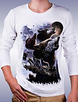 Herren Freizeit T-Shirt  -  Druck Lang Baumwolle
