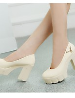 Women's Shoes Leather Chunky Heel Heels Heels Wedding / Dress / Casual Black / Beige