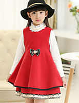 Girl's Red Dress , Bow Wool Blend Winter / Spring / Fall