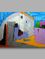 Hand-Painted Abstract Modern Oil Painting Canvas Deco Art Building Village  Home Deco one Panel