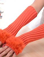 Women Fashion Stripe Knitwear Fingerless Long Gloves , Casual / Cute