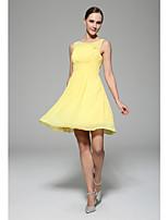 Vestido de Madrinha - Narciso Linha-A U profundo Coquetel Chiffon