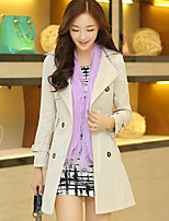Women's Solid Black / Yellow / Beige Trench Coat , Casual Long Sleeve Cotton Blends