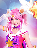 League of Legends lux parrucca rosa cosplay breve