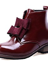 Women's Shoes Patent Leather Low Heel Fashion Boots / Combat Boots Boots Office & Career / Dress / Casual Black / Red