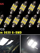 10PCS Pure White CANBUS 31MM 5630 6SMD Festoon Dome Map Interior LED Light bulbs DE3175