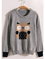 Women's Striped Gray Pullover , Sexy / Casual Long Sleeve