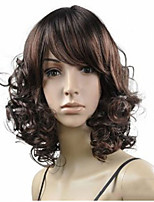 Fashion Lady Short  Brown Mixed Curly Cosplay Full Wigs